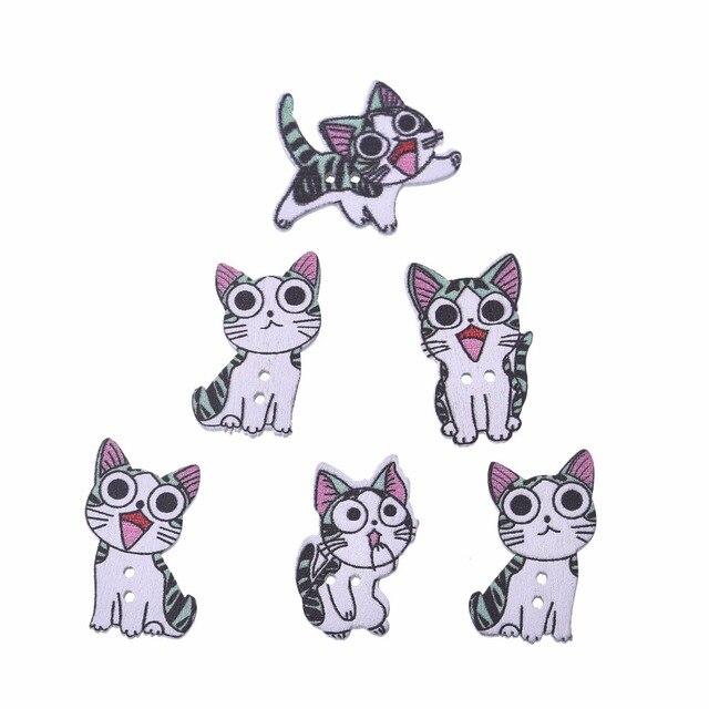 חדש 50 pcs יפה חתול צבוע עץ דקורטיבי כפתורי עץ ButtonFor רעיונות קרפט תפירת ספקי 26*16mm