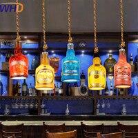 Phong Cách mỹ Cổ Điển Công Nghiệp Mặt Dây Đèn LED Retro Phong Cách Loft Chai Droplight Bar Restaurant Gai Dây Treo Đèn