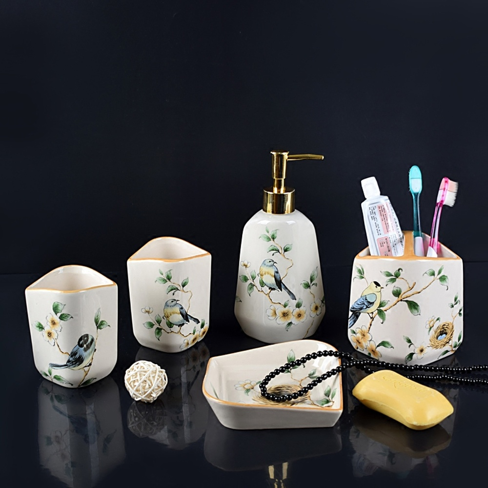 American ceramic bathroom mouth cup set wash cup brush tooth cup couple tooth cylinder soap dish bathroom five-piece LO7281140 ceramic five piece set american bathroom supplies brushing cup bathroom mouthwash cup wash cup set lo7271146