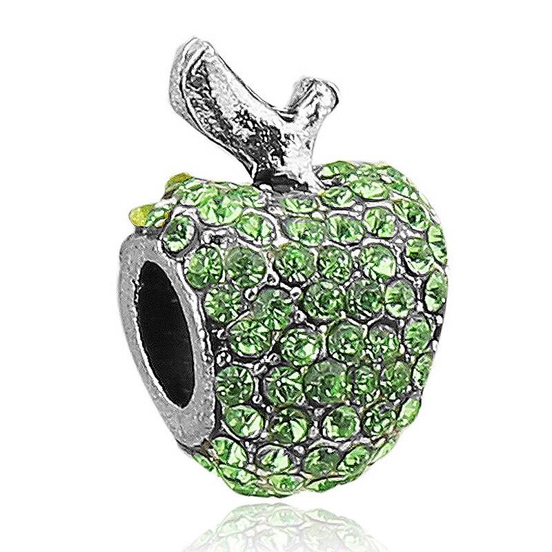 Free Shipping 1PC Green Crystal Apple Charms Beads Fit European Pandora Charm Bracelet