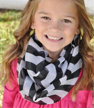16 Colors Chevron Wave Print Infinity Scarf Summer Spring Girls Loop Kids Ring Scarves Baby Accessories Wholesale Free Shipping