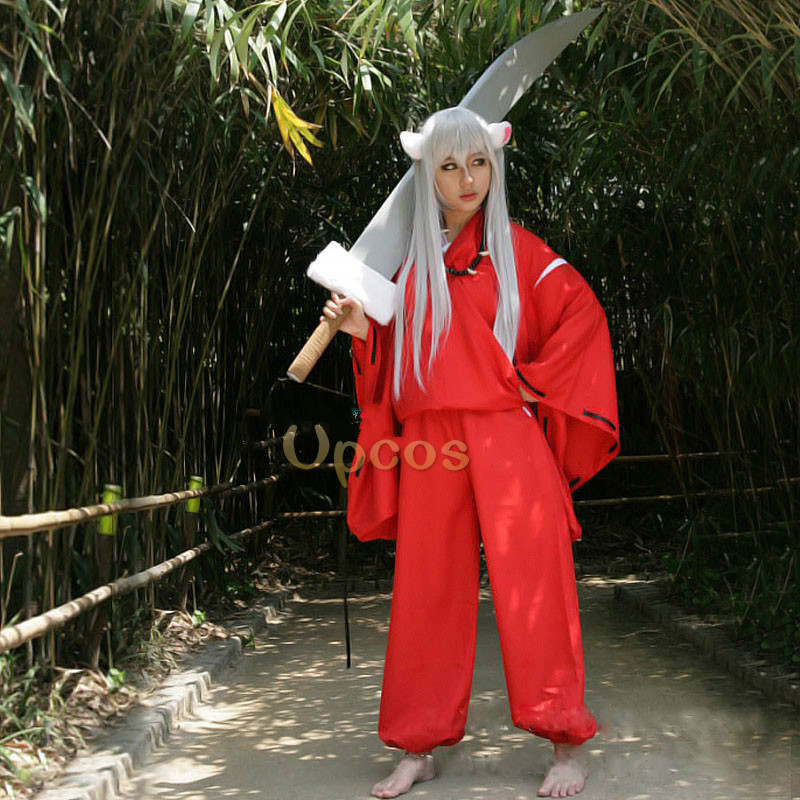 Anime Inuyasha Cosplay Costume for party (Coat+Pant+Necklace+Bracelet)