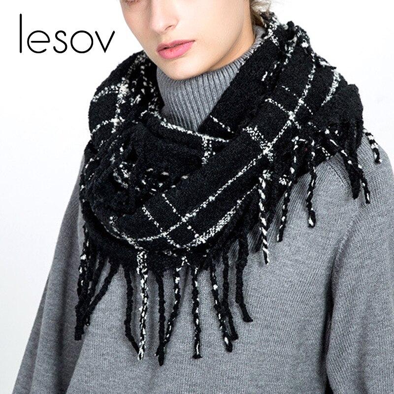 Lesov Tassel Knitted   Scarves   Autumn 2018 Women Fringe Circle Neck Warmer Winter   Scarf   Snood Collar   Scarf     Wraps   Shawl Foulard New
