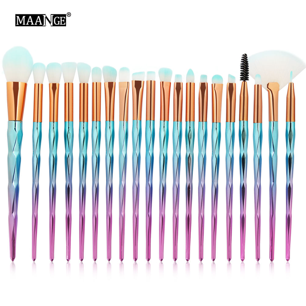 MAANGE 20Pcs/Kit Diamond Makeup Brushes Set Powder Eye Shadow Foundation Blend Blush Lip Cosmetic Beauty Soft Make Up Brush Tool