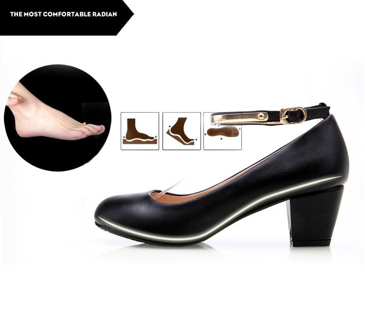 YALNN New Women's High Heels Pumps Sexy Bride Party Thick Heel Round Toe leather High Heel Shoes for office lady Women 16