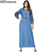0916a91d0a Casual Floral Denim Plus Size Maxi Women Dress Embroidery Long Sleeve Floor  Length Blue Xxxl 4xl
