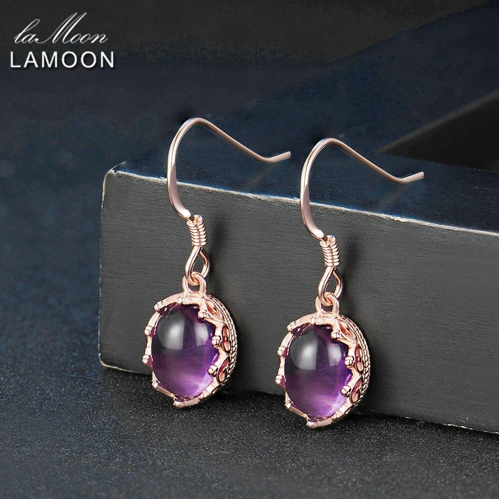 LAMOON 7x9mm 2.7ct 100% Natural Oval Purple Amethyst 925 Sterling Silver Jewelry Drop Earrings S925 LMEI036