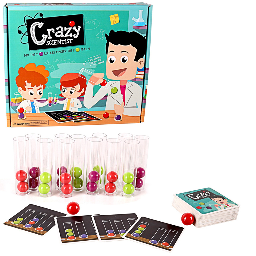 [New] Crazy Scientist Test Tube Color Ball Cards Set Logical Thinking Game Board Game Family Educational Interactive Toy Gift