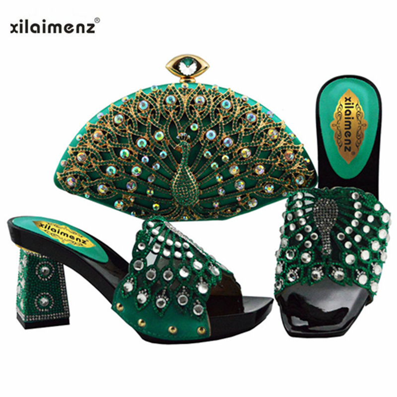 2019 Latest Teal Color African Shoes With Matching Bags For Wedding Italian Summer Style Women Wedding