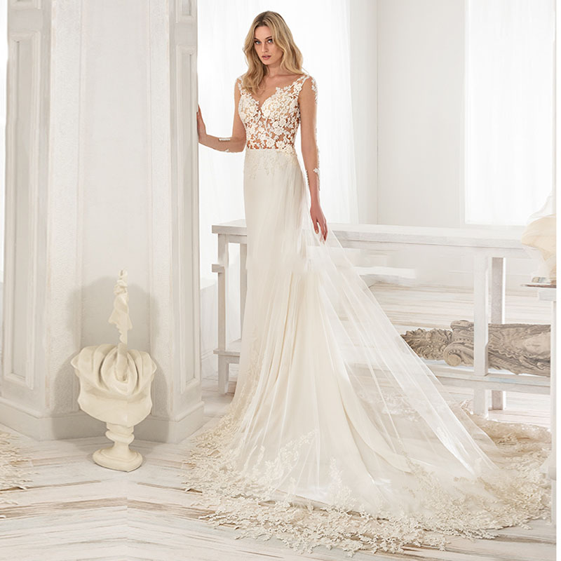 Eightale Wedding Dress Sale Sexy V-Neck Appliques Mermaid Lace Tulle Backless Beach Wedding Gowns Elegant Bridal