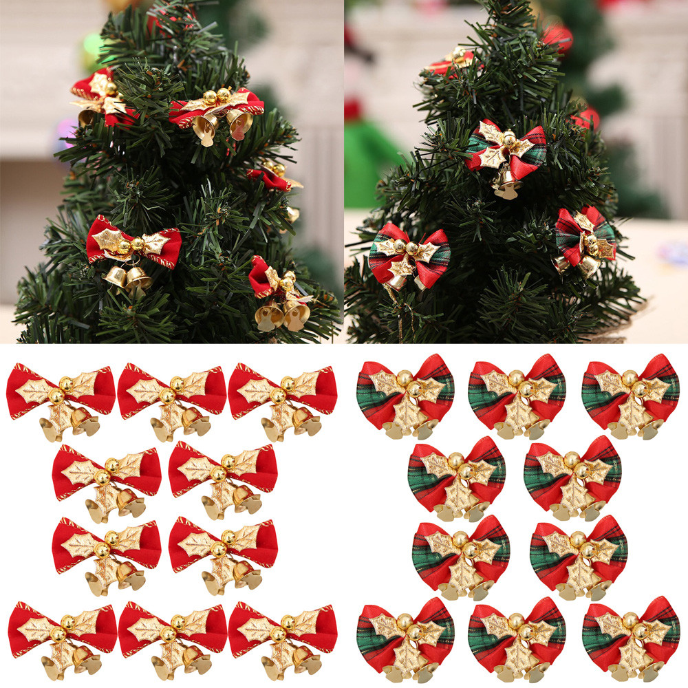Christmas Tree In Garden: 2018 New 10PC Christmas Tree Decoration Xmas Bowknot Bell