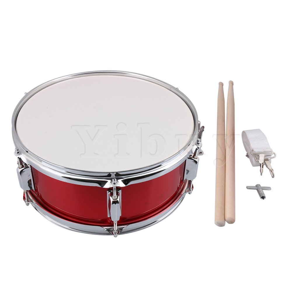 Yibuy Stainless Steel Red 14 Snare Drum for Kid & Beginner with Drum Strap Stick Key Percussion Musical Instrument