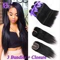 8A Peruvian Straight Hair with Closure 3 bundles with Closure Rosa Hair Products with Closure Peruvian Virgin Hair with Closure