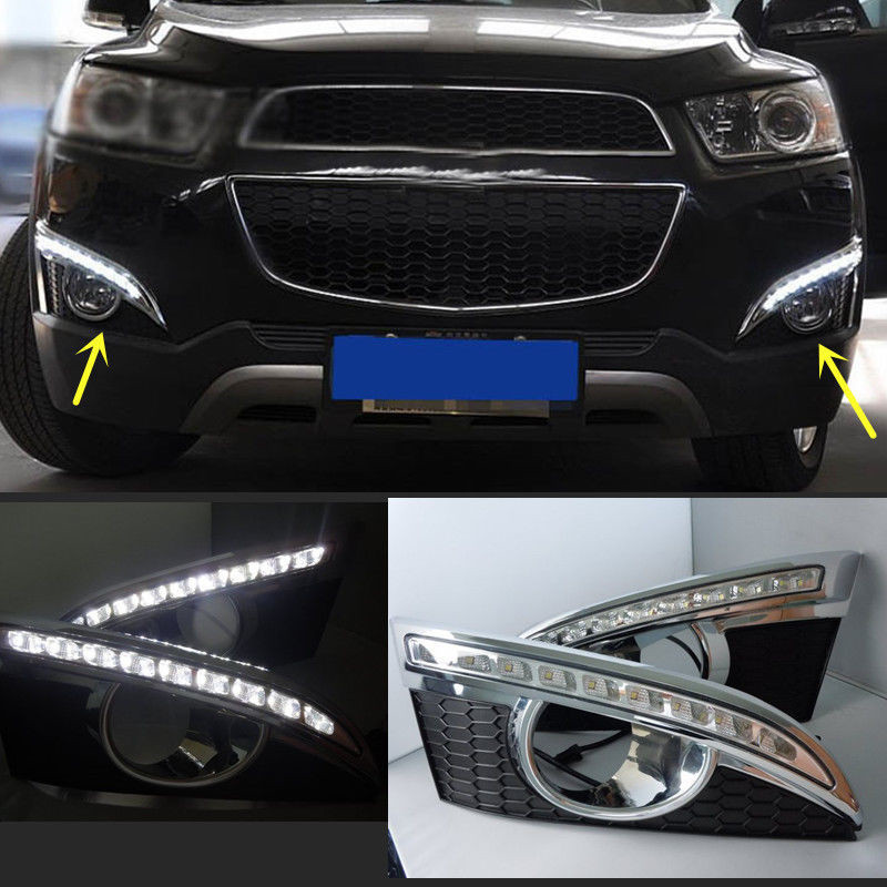 ФОТО 12V Car LED DRL Daytime Running Light With Yellow Turn Signal For Chevrolet Chevy Captiva 2011 2012 2013