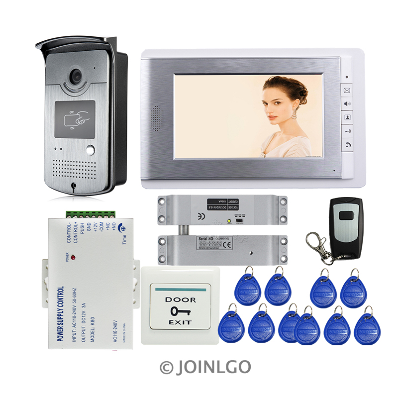 FREE SHIPPING NEW 7 Monitor Video Door Phone Intercom System Waterproof RFID Access Doorbell Camera + Electric drop bolt lock home security new 7 color video door phone intercom system rfid access doorbell camera white monitor power free shipping