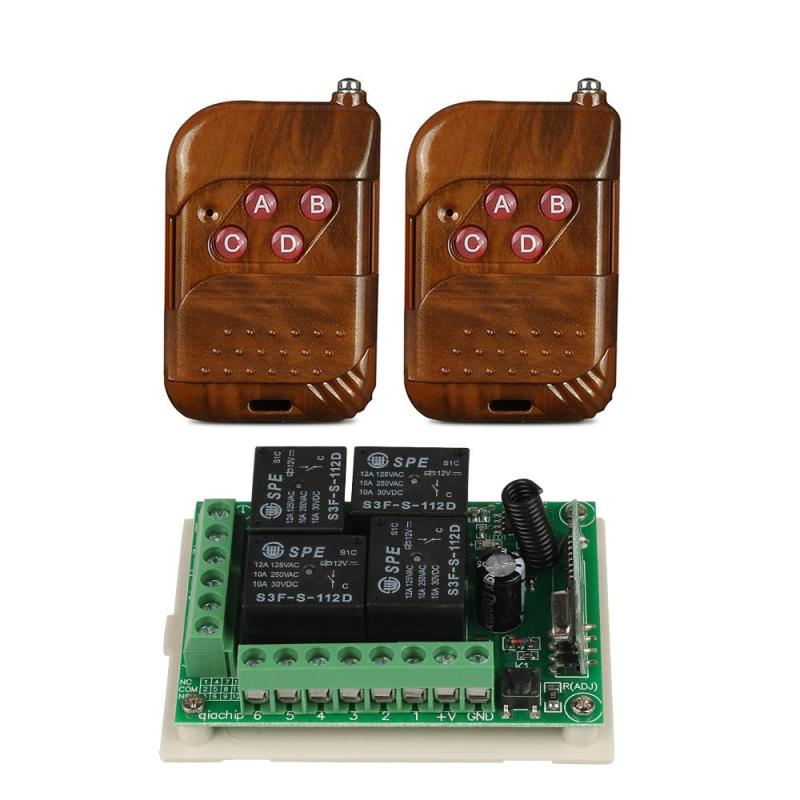 Universal 433Mhz RF Wireless Remote Control Switch 4CH Relay Receiver Module with DC 12V 4 Buttons Remote Transmitter DIY Kits