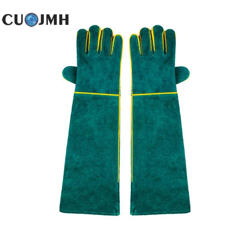 1 Pair Welding Gloves Green Leather Wear-resisting High Temperature Resistance Labour Protection Cowhide Electric Welding Glove 1 pair welding gloves cowhide leather electric welder s protective gloves fire high temperature protection workplace safety