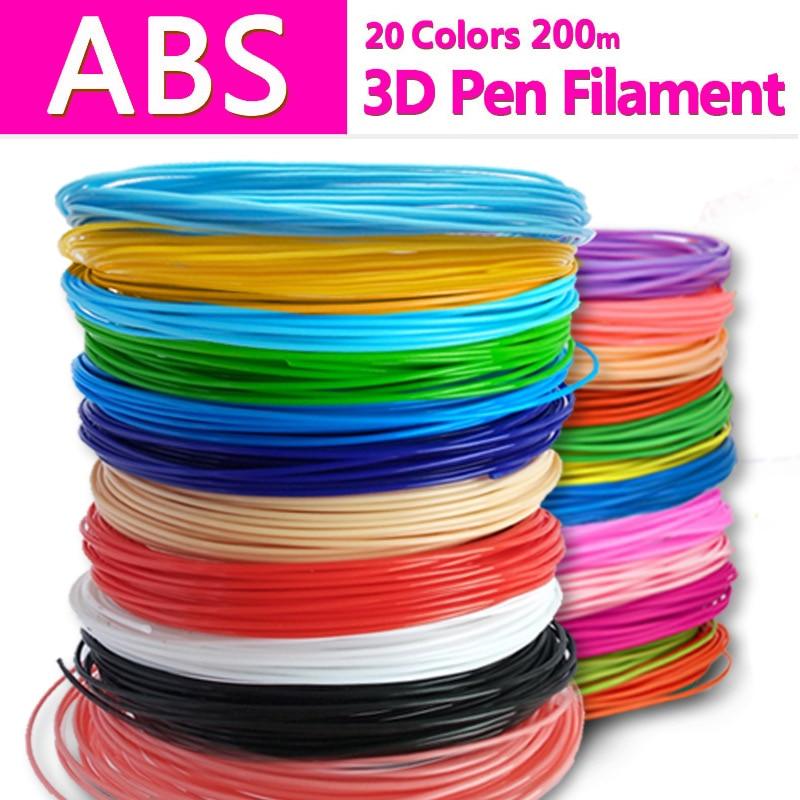 Penna stampante 3d abs filament pla 1.75mm 3d di plastica filamento abs 3d penna pla plastica 20 colori abs 1.75 nessun inquinamento