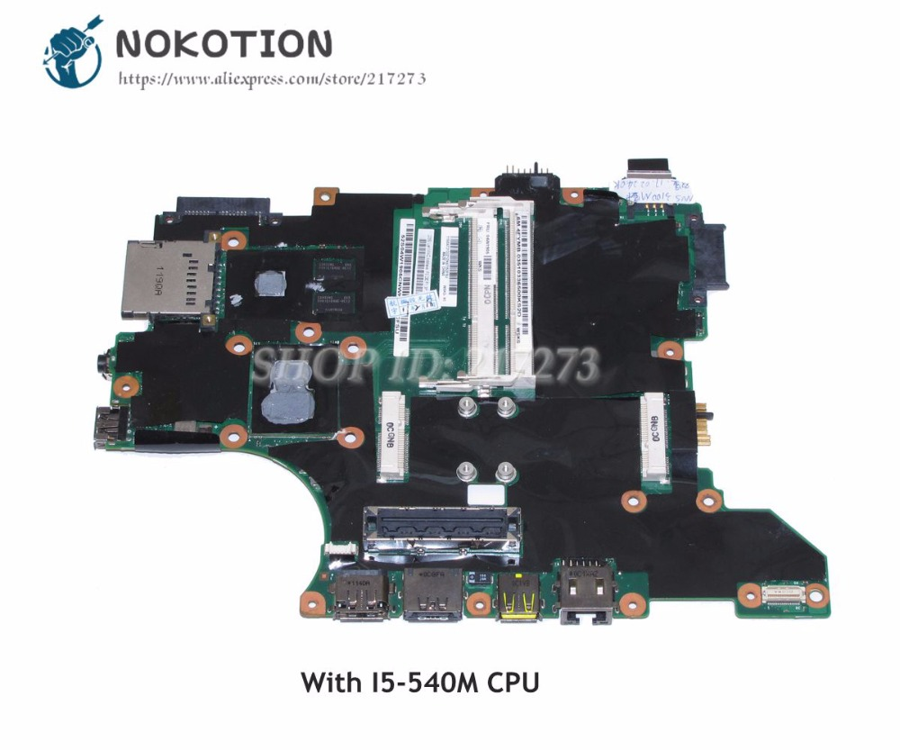 NOKOTION For Lenovo Thinkpad T410S T410SI Laptop Motherboard 04W1905 I5-540M CPU QS57 NVS 3100M Video card 75y4160 notebook pc main board for lenovo ibm t410s laptop motherboard i5 540m cpu onboard ddr3