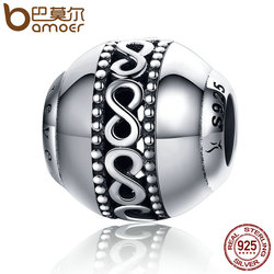 BAMOER High Quality 925 Sterling Silver Stackable Infinity Element Endless Love Beads fit Charm Bracelets Jewelry Gift SCC175