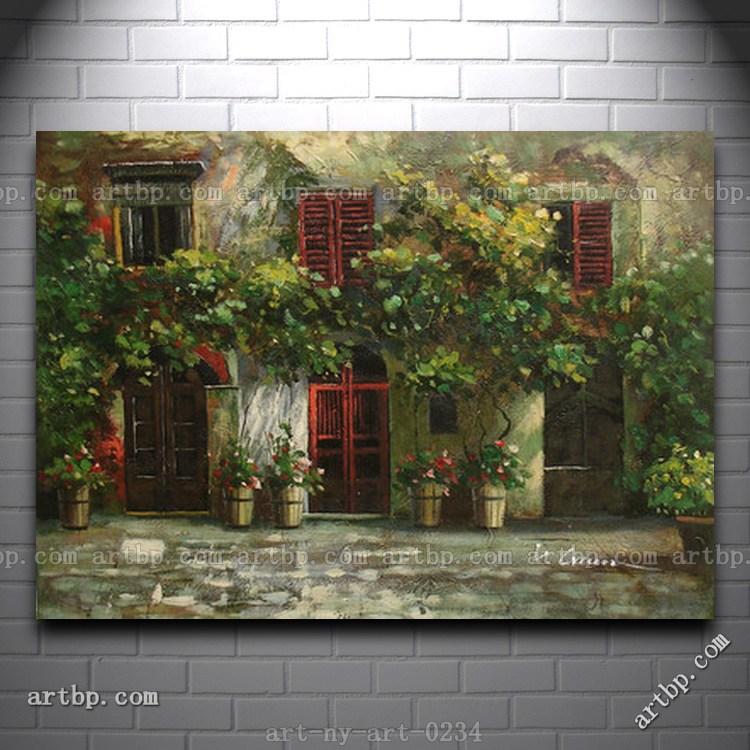 Oil painting of landscape garden scene flowers in windows for 18x27 window
