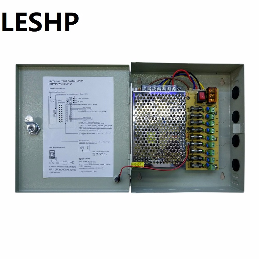 LESHP 12V 5A 9CH Video Camera Centralized Power Supply Outdoor Monitor Camera Power Source Security Monitoring Camera Power leshp 12v 5a 9ch video camera centralized power supply outdoor monitor camera power source security monitoring camera power