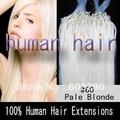 """Envío gratis 100% natural Loops extensión del pelo humano #60 Bleach rubia 40 g / 50 g / 70 gramos 16 """" 18 """" 20 """" 22 """" 24 """" 26 """" 100 unids/lote"""