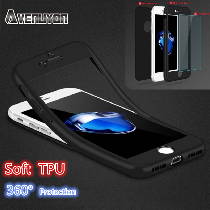 detailed look 12579 d4ed4 US $2.85  For iPhone Soft 360 Degree Matte Silicone TPU Shockproof Case For  Apple iPhone 6 6S 7 Plus Slim Full Cover + Tempered Glass-in Fitted Cases  ...