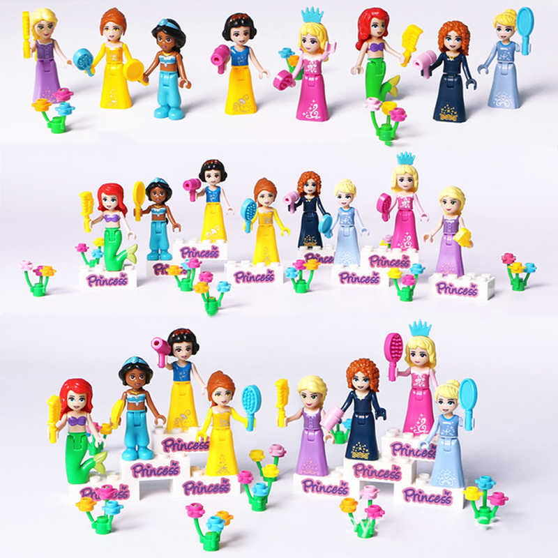 New 8pcs  Princess Figures Girl Snow White Mermaid Tinker Bell Sleeping Beauty Cinderella Blocks Friends Set Girls Toy