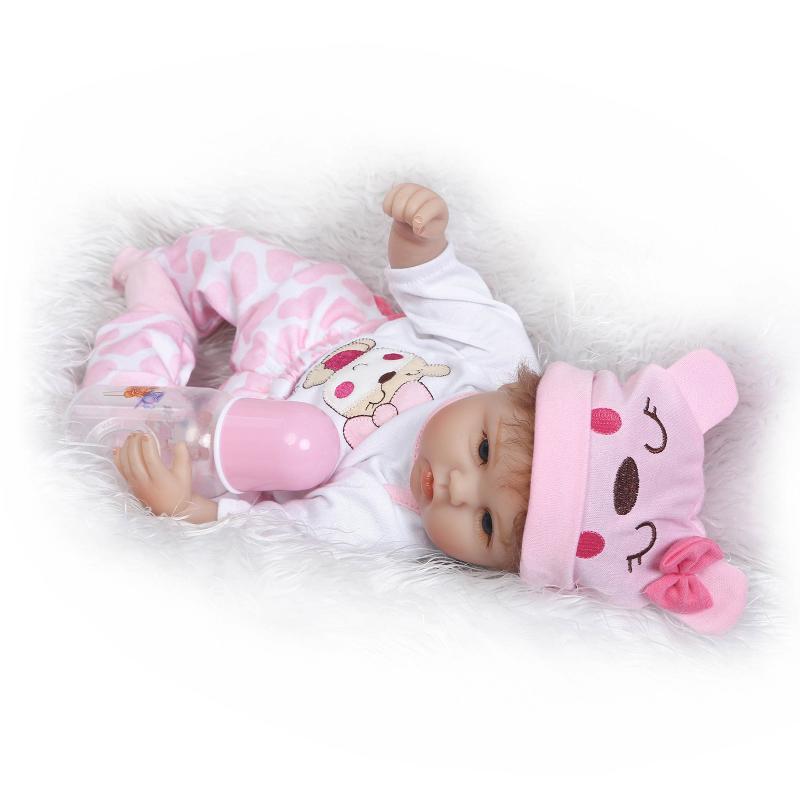 Nicery 16 18 дюймов 40 45 см Bebe Кукла Reborn Мягкая силиконовая игрушка для мальчиков и девочек Reborn Baby Doll подарок для детей розовый медведь прекрасный - 3
