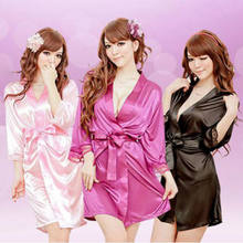 Hot Women Sexy Solid Faux Satin Lace Silk Bandage Sleepwear Robe Underwear Lingerie Mini Nightdress Clothes(China)