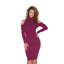 Plus Size S-3XL Solid Cold Shoulder Ribbed Knitted Dress Turtleneck Long Sleeve Stretchy Slim Casual Midi Dress Vestidos plus size long sleeve ribbed jumper casual knit dress