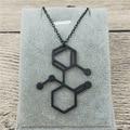 4 цвета Новый трендовый маленький Кетамин ожерелье с дизайном «молекула» в прямоугольной многополярной нейронной биологии подарок психоло...