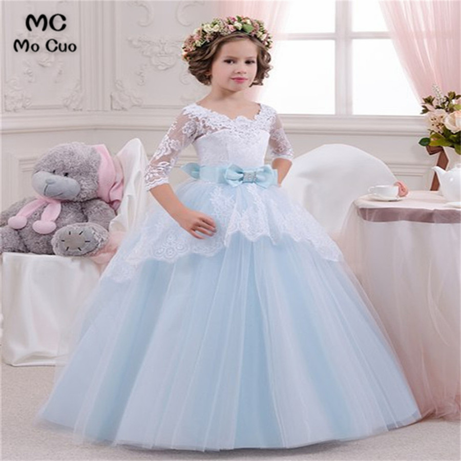 2018 Lovely Ball first communion dresses for girls with 3/4 Sleeves Bow kids evening gown flower girl dresses for weddings