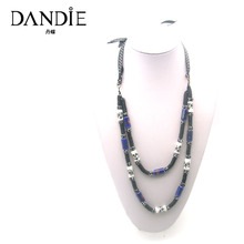 Dandie Blue Ceramic Beads Necklace , Fashion Jewelry, Costume Accessory For Women