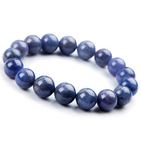 14mm Genuine Natural Tanzanite Blue Gemstone Bracelet Round Beads Stretch Woman Beads Man Crystal Party Fashion Bracelet AAAAA