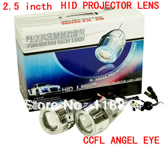 35w Xenon Lamp H1 H7 H4 9004 9005 9006 9007 35W G5 2.5 inch HID Bixenon Projector Lens headlight with CCFL Angel Eye 2 5inch bixenon projector lens with drl day running angel eyes angel eyes hid xenon kit h1 h4 h7 hid projector lens headlight