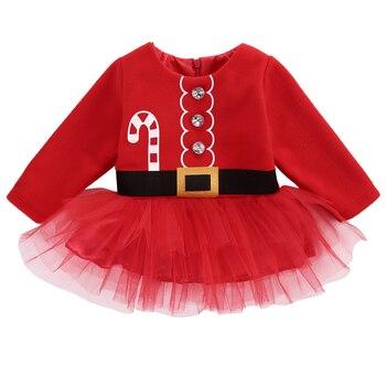 4241519f005 Navidad bebé niñas Tutu vestido de bebé niña de Navidad de Santa Claus  traje princesa Niñas Ropa de bebé para 0-2 T