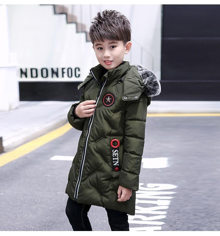 jaqueta de inverno quente parkas para meninos