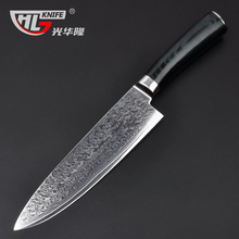 GHL 8″ inches Damascus kitchen knives Damascus knife high quality VG10 Japanese steel chef knife Micarta handle free shipping