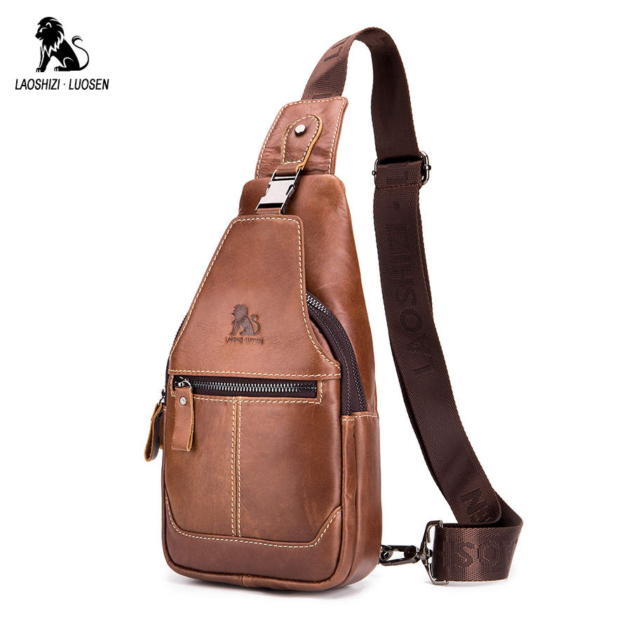LAOSHIZI LUOSEN Fashion Genuine Leather Crossbody Bags Men Small Brand Messenger Bags Male Shoulder Bag Chest Bag for Men 2018 laoshizi luosen genuine leather chest bag for men messenger bags vintage crossbody sling bag man shoulder bag small chest pack