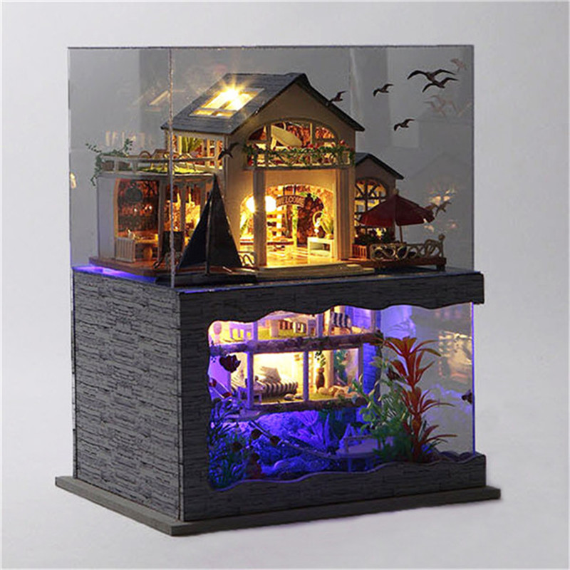 T Yu Hawaii Villa DIY Dollhouse Miniature Model House With Light Cover Gift Decor Collection Toy