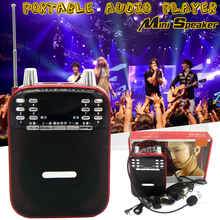 Portable Mini Digital Radio FM USB MP3 Player SD/TF Card Loudspeaker With Mic Voice PA Amplifier Megaphone Multifunction Speaker
