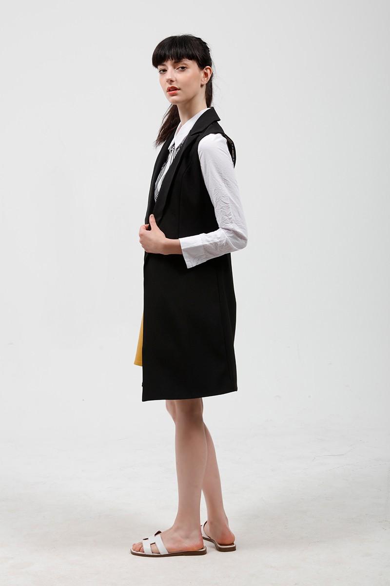 2017 wiosna nowy mody długie kieszenie turn-dół collar otwórz stitch pantone niebieski różowy beżowy czarny żakiet kamizelka bez rękawów kurtki 23