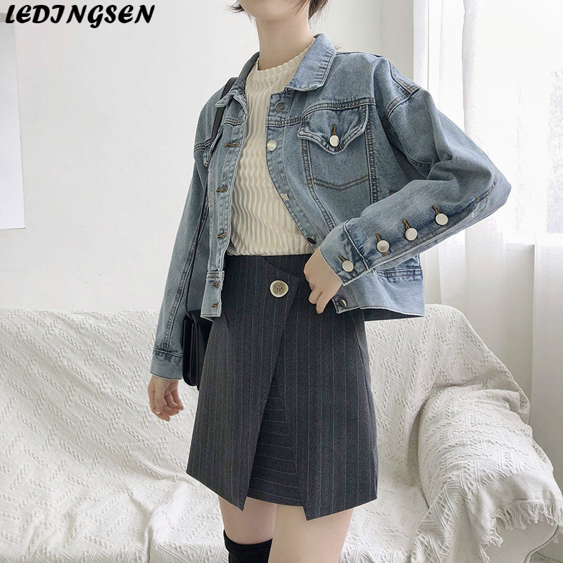 LEDINGSEN 2019 Spring Womens Blue Denim   Jacket   Ripped Short Jeans   Jackets   Coats For Women Female   Basic     Jacket   Fall Coat Autumn
