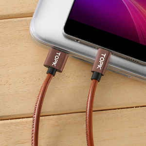 Image 4 - TOPK [5 Pack] Micro USB Cable PU Leather Metal Plug Data Cable For Samsung S7 edge Xiaomi Redmi 4X