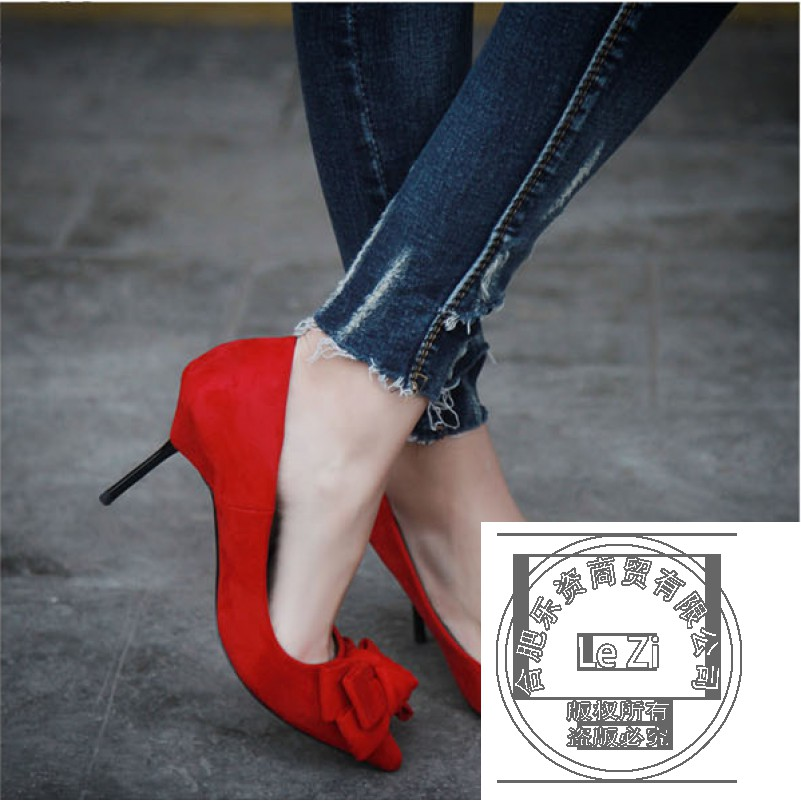Formal font b Women b font Pumps Pointed Toe Suede Sheepskin Genuine Leather Slip On Bows