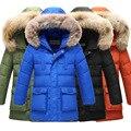 Boys Winter Coat 2017 Winter Jacket Boy With Real Fur Hood Long Warm
