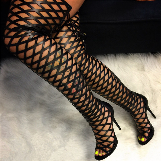 New 2017 Summer Women Sandals Lace Up Thigh High Boots Open Toe Gladiator Sandals Boots Cut-outs Boats Mujer Rome Style Sapatos new summer boots women gladiator sandals pointed toe patent leather cut outs lace up high heel boots pumps lace up ankle boots
