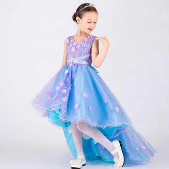 Rhinestone Appliques Floral Princess Flower Little Girl Dresses for Wedding Kids Baby Party Pageant Dress With Long Train Glitz - DISCOUNT ITEM  34 OFF Mother & Kids